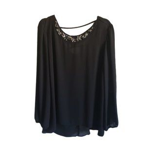 Maurices Sheer Blouse with Jewel Neckline